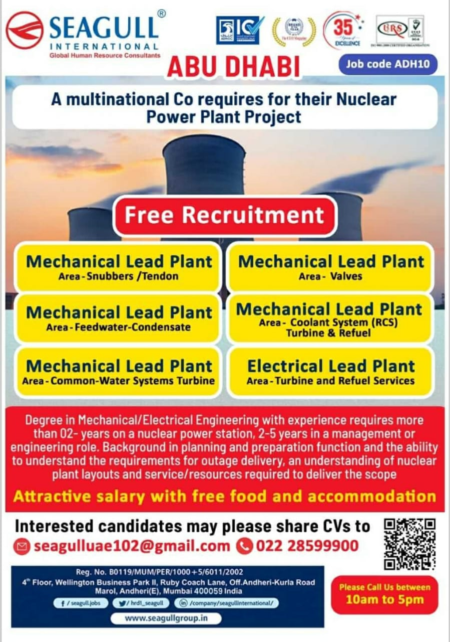 WALK-IN INTERVIEW AT MUMBAI FOR ABUDHABI NUCLEAR POWER PLANT