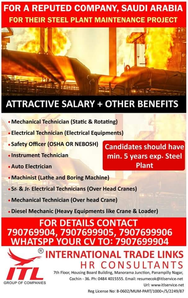 WALK-IN INTERVIEW AT COCHIN FOR SAUDI ARABIA STEEL PLANT MAINTAINANCE PROJECT