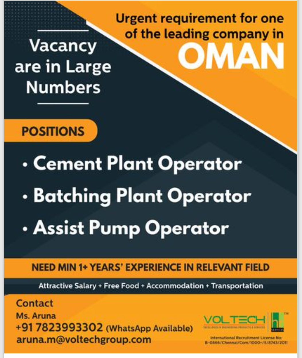 WALK-IN INTERVIEW AT CHENNAI FOR OMAN