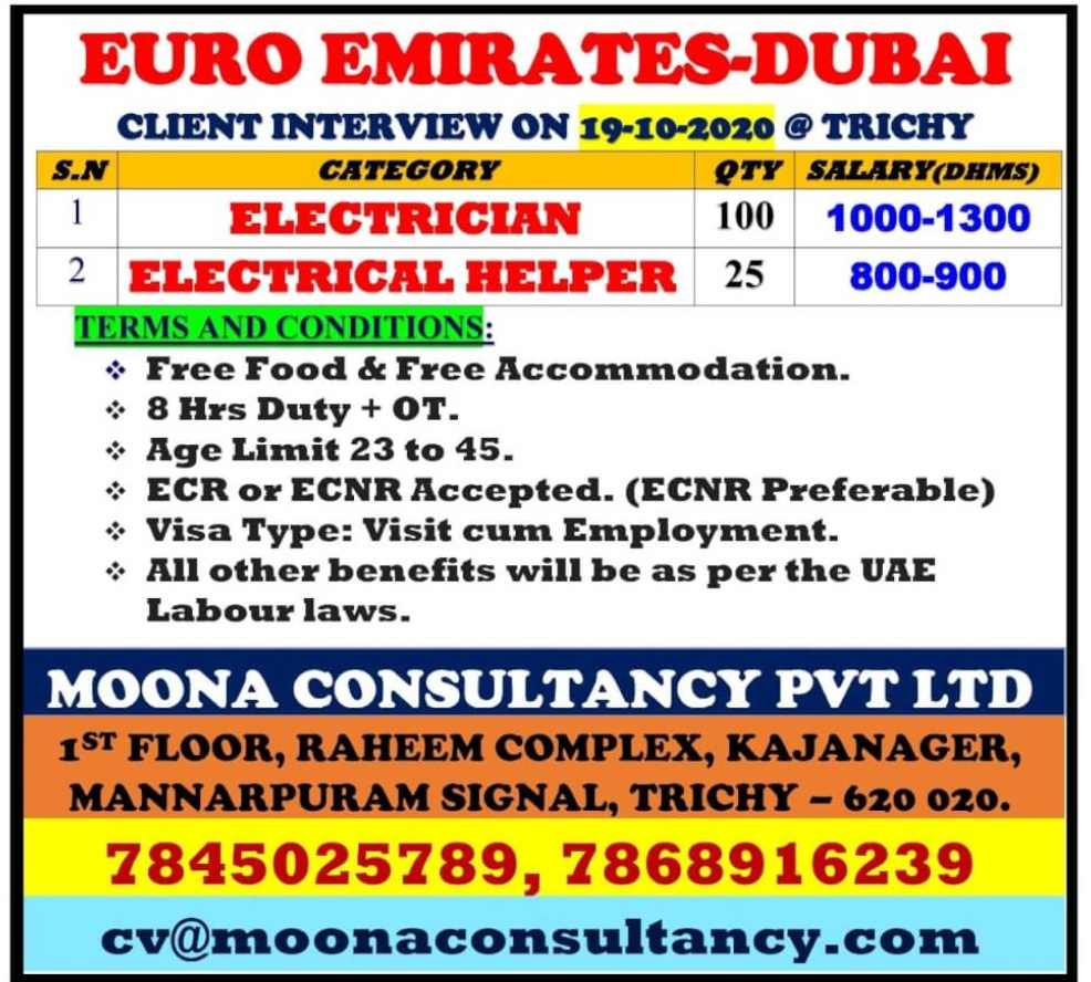 WALK-IN INTERVIEW AT TRICHY FOR EURO EMIRATES-DUBAI