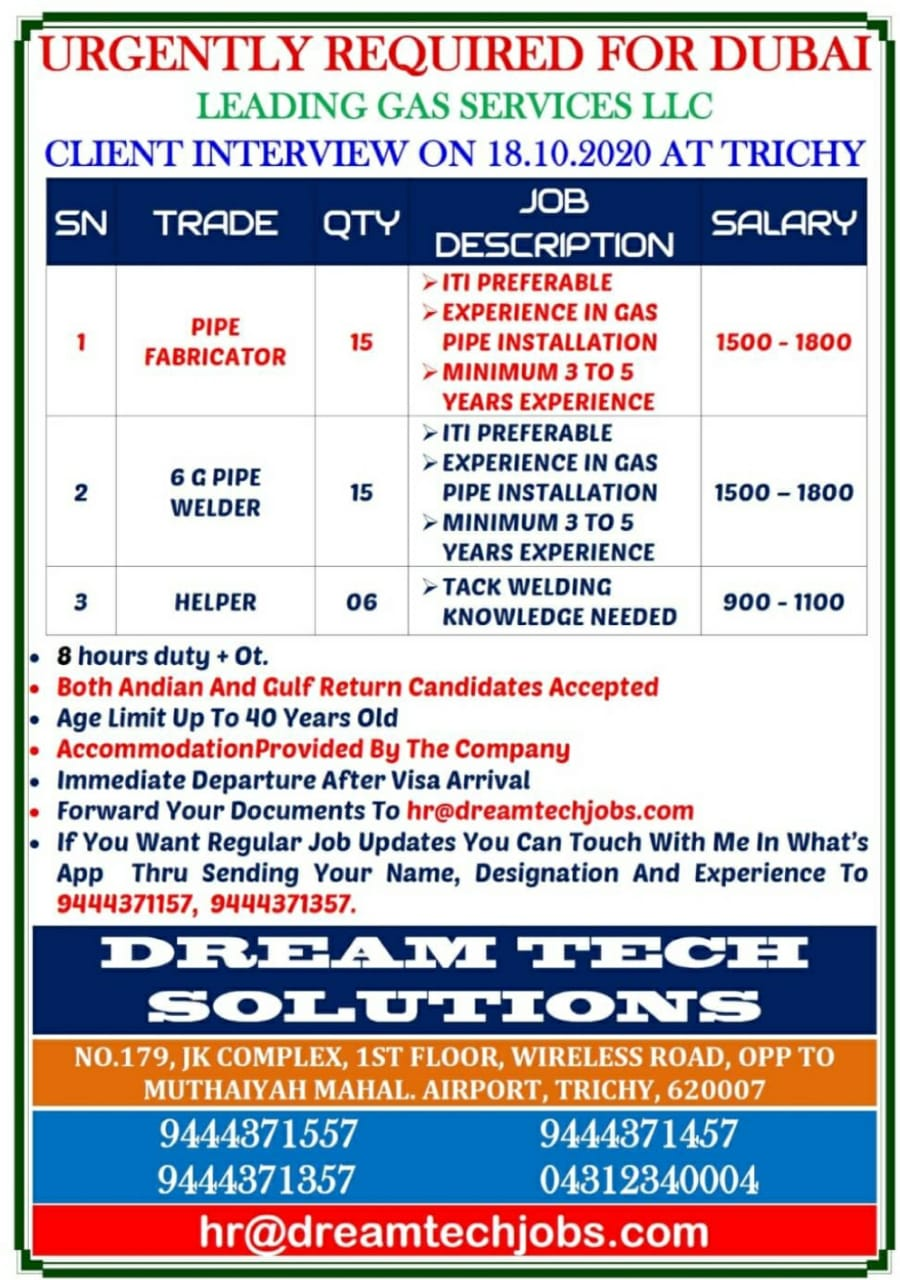 WALK-IN INTERVIEW AT TRICHY FOR DUBAI GAS SERVICES LLC