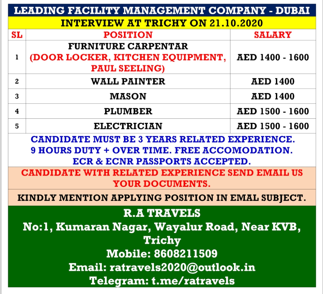 WALK-IN INTERVIEW AT TRICHY FOR DUBAI FACILITY MANAGEMENT
