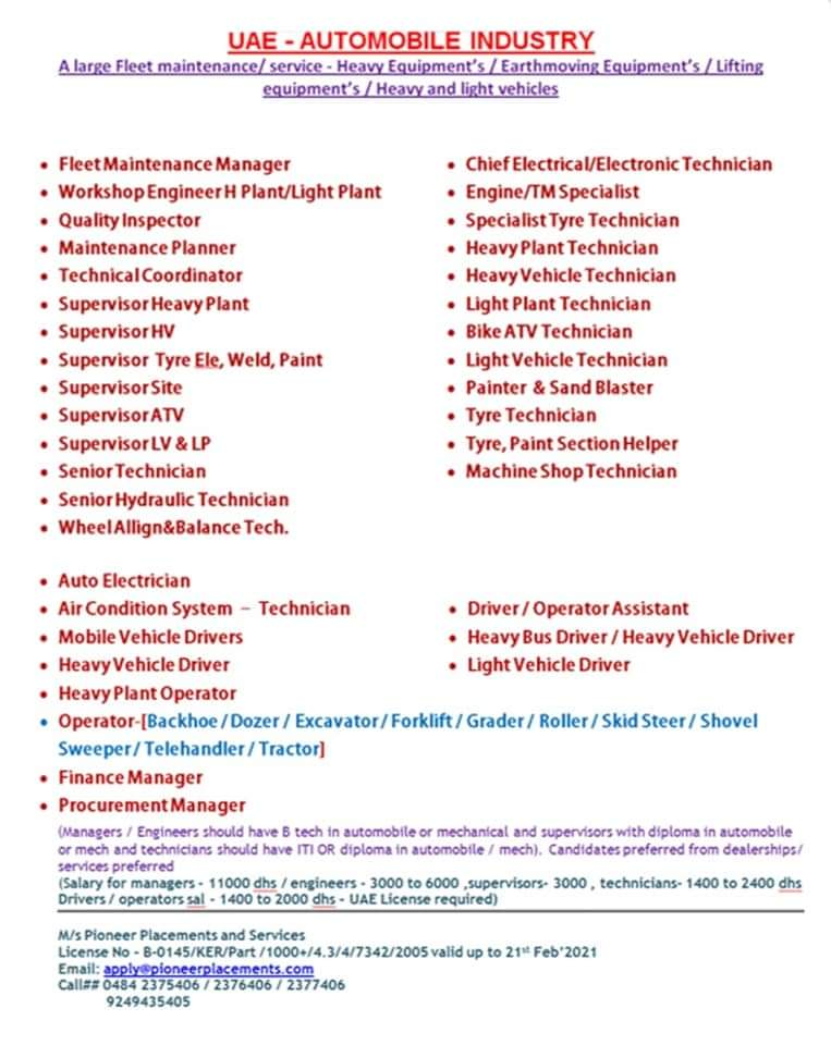 WALK-IN INTERVIEW AT KERALA FOR UAE AUTOMOBILE INDUSTRY