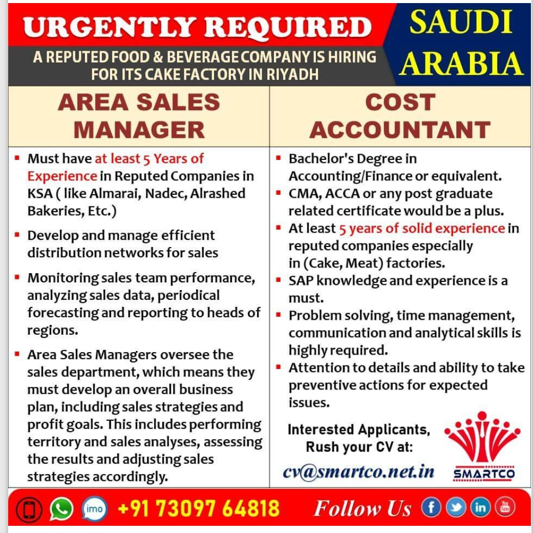 WALK-IN INTERVIEW AT MUMBAI FOR  SAUDI ARABIA FOOD AND BEVERAGE COMPANY