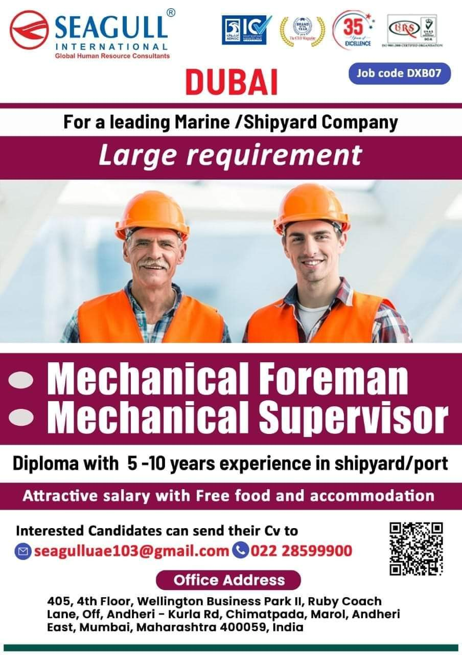 WALK-IN INTERVIEW AT MUMBAI FOR DUBAI MARINE/ SHIPYARD COMPANY