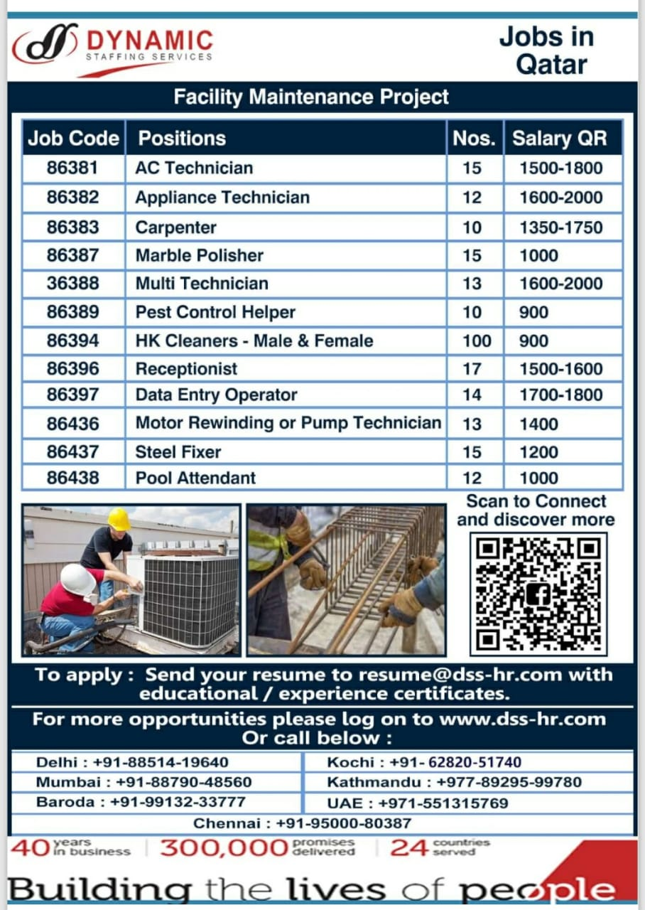 WALK-IN INTERVIEW AT MUMBAI, DELHI, BARODA, KOCHI, KATHMANDU, UAE FOR QATAR FACILITY MAINTAINANCE PROJECT