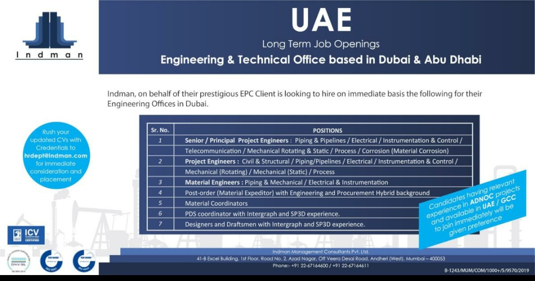 WALK-IN INTERVIEW AT MUMBAI FOR DUBAI&ABUDHABI ENGINEERING & TECHNICAL OFFICE BASED