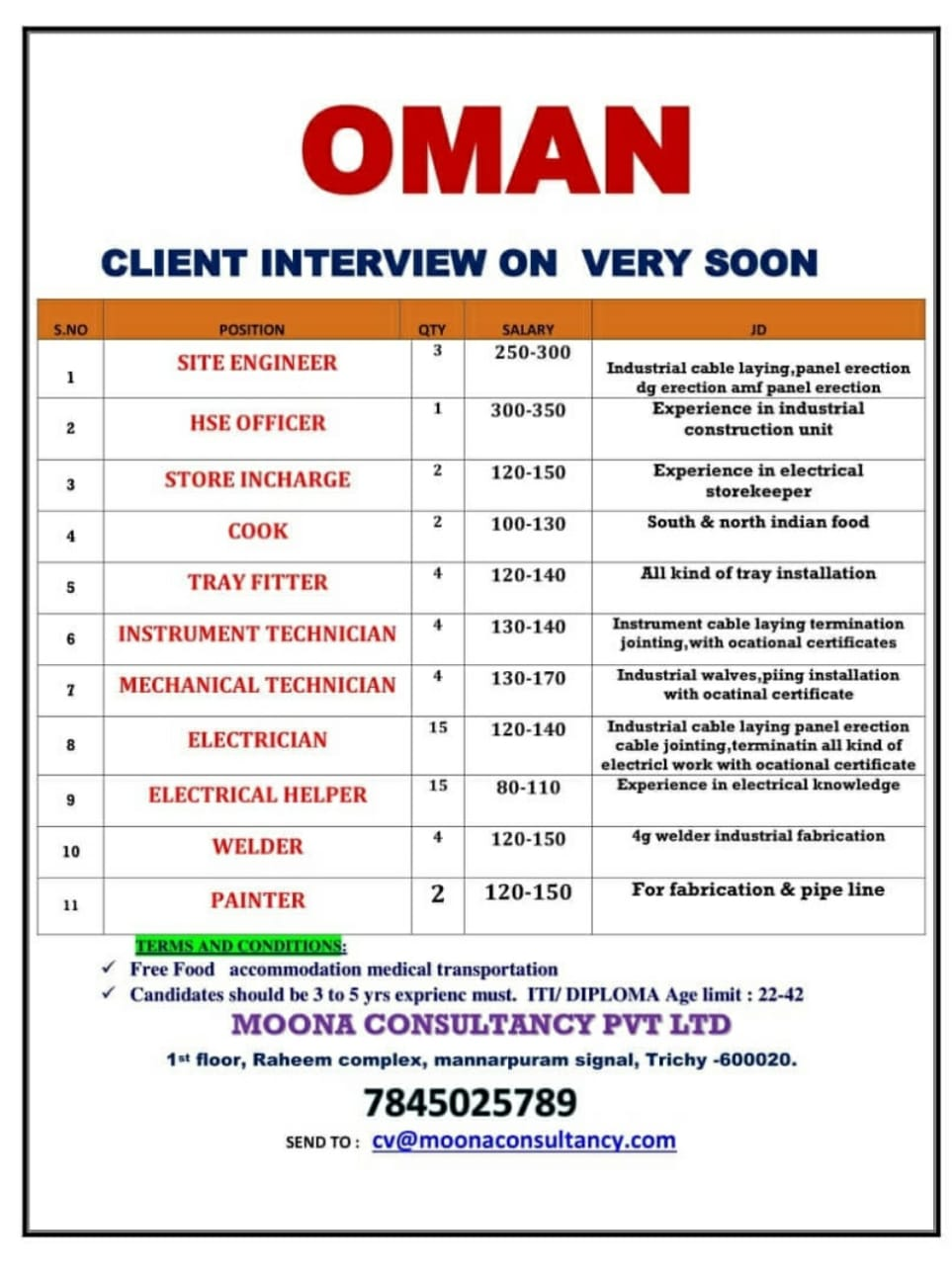 WALK-IN INTERVIEW AT TRICHY FOR OMAN