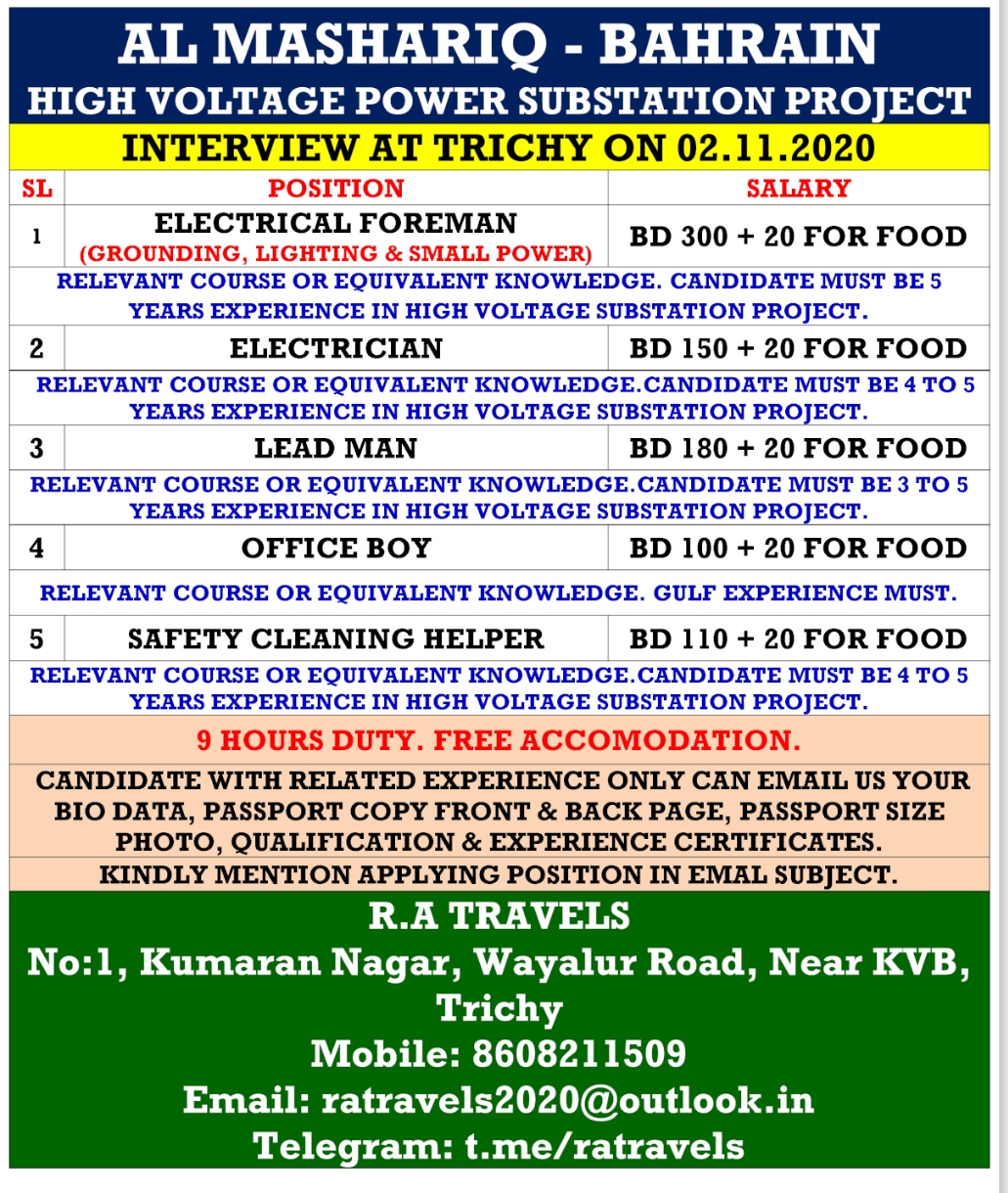 WALK-IN INTERVIEW AT TRICHY FOR BAHRAIN HIGH VOLTAGE POWER SUBSTATION PROJECT
