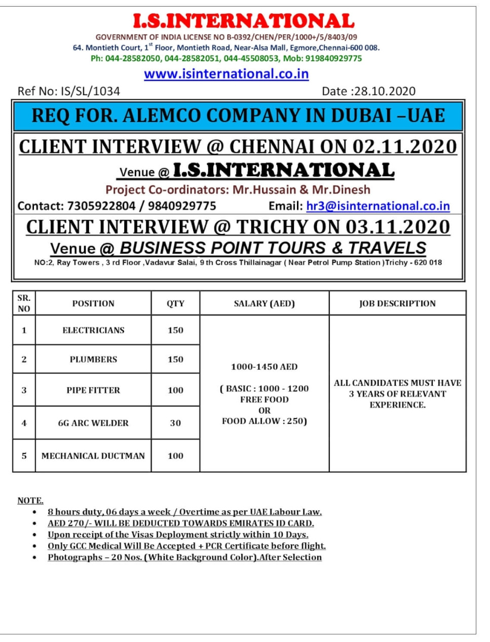 WALK-IN INTERVIEW AT CHENNAI, TRICHY FOR DUBAI-UAE