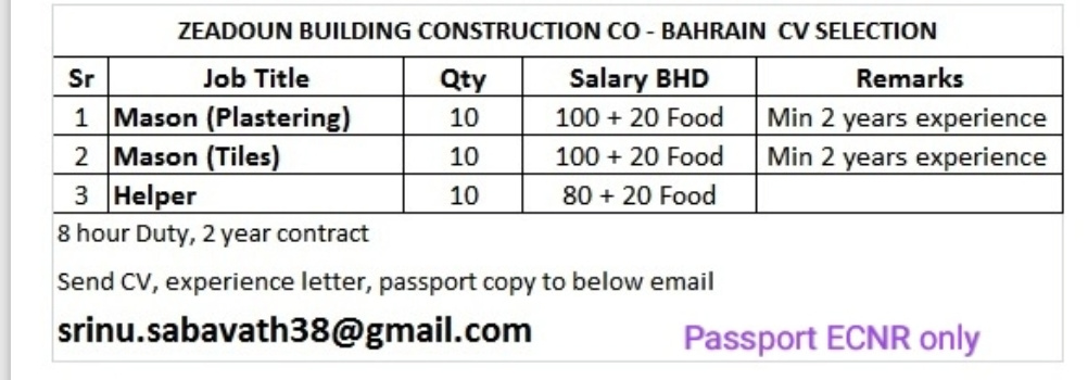 WALK-IN INTERVIEW AT MUMBAI FOR BAHRAIN CONSTRUCTION COMPANY