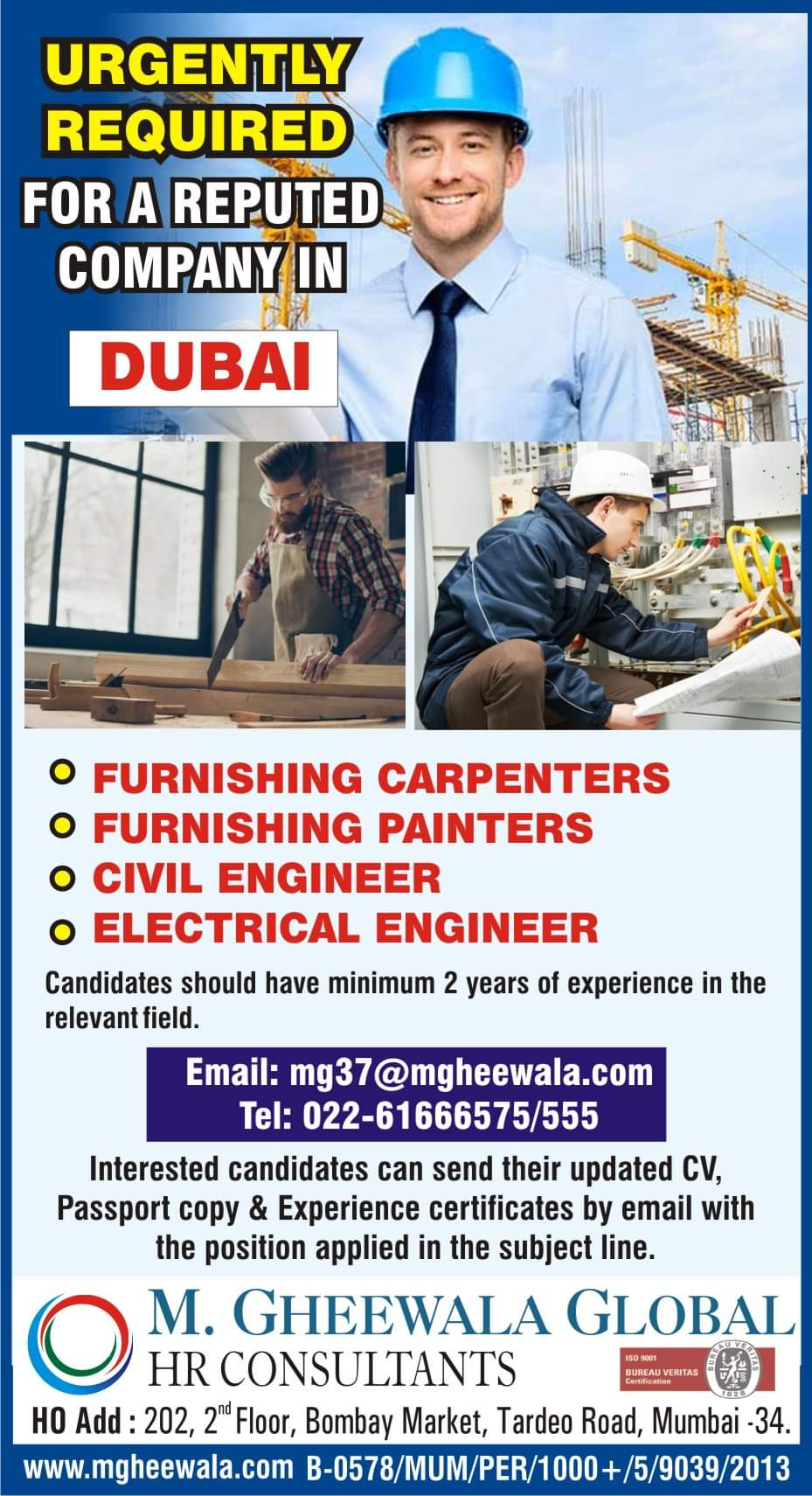 WALK-IN INTERVIEW AT MUMBAI FOR DUBAI REPUTED CO.