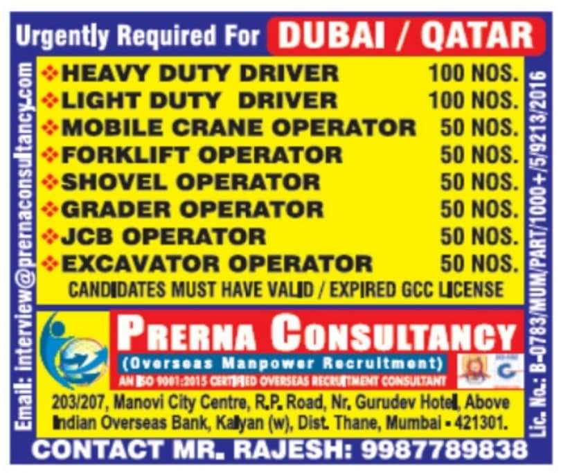 WALK-IN INTERVIEW AT MUMBAI FOR DUBAI/QATAR