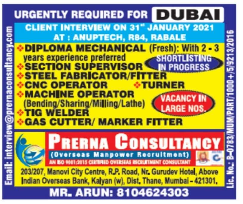 WALK-IN INTERVIEW AT MUMBAI FOR DUBAI URGENT REQUIREMENT
