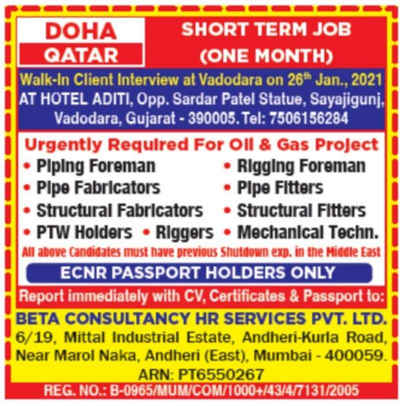 URGENTLY REQUIRED FOR A LEADING CO-QATAR