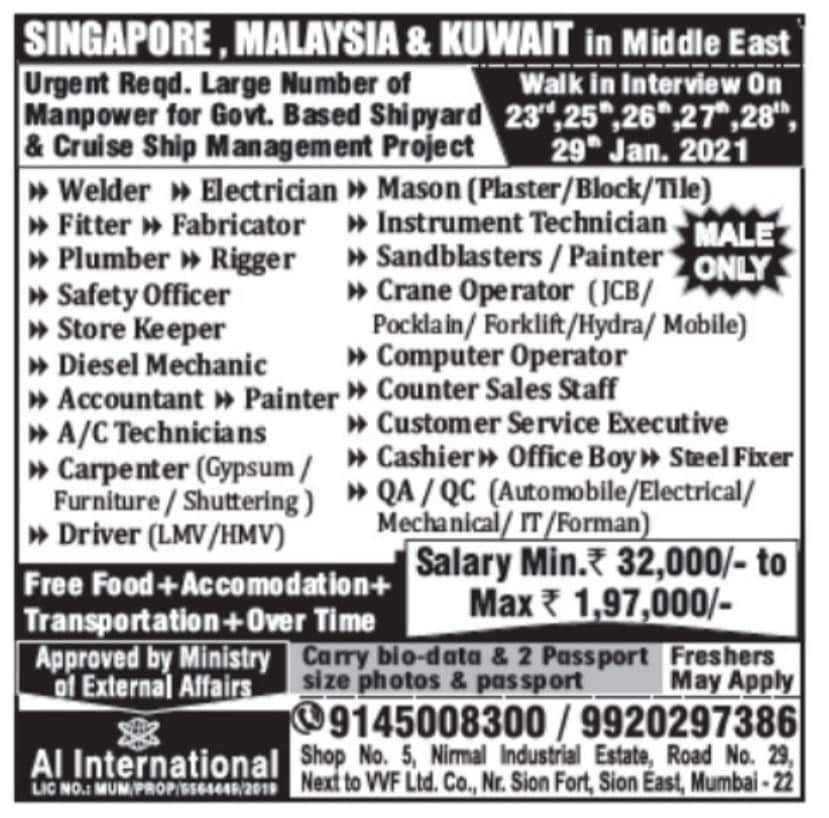URGENTLY REQUIRED FOR GOVT.BASED SHIPYARD & CRUISE SHIP MANAGEMENT PROJECT-KUWAIT