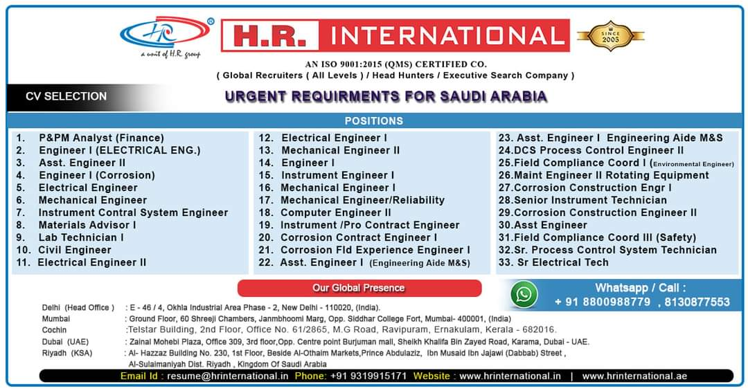 URGENTLY REQUIRED FOR A REPUTED CO-SAUDI ARABIA