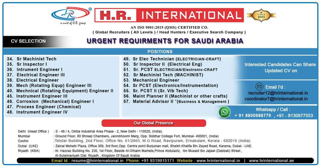 URGENT REQUIREMENT FOR LEADING CO-SAUDI ARABIA