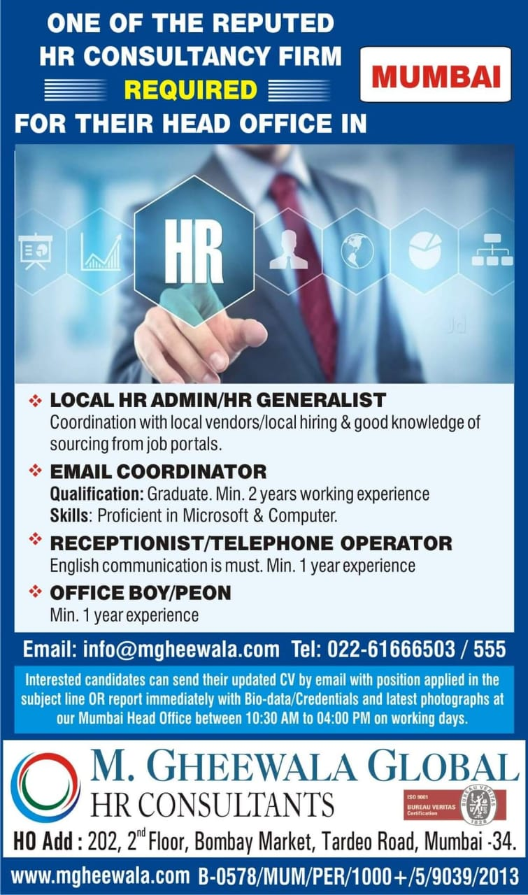 REQUIRED FOR ONE OF THE REPUTED HR FIRM-MUMBAI