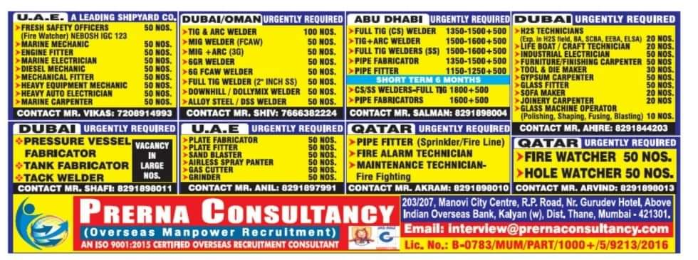 WALK-IN INTERVIEW AT MUMBAI FOR JOBS AT UAE, DUBAI/OMAN, ABUDHABI, QATAR