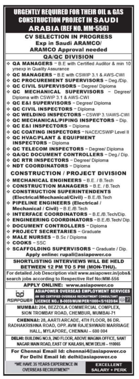 WALK-IN INTERVIEW AT MUMBAI, CHENNAI, DELHI FOR SAUDI ARABIA OIL AND GAS CONSTRUCTION PROJECT