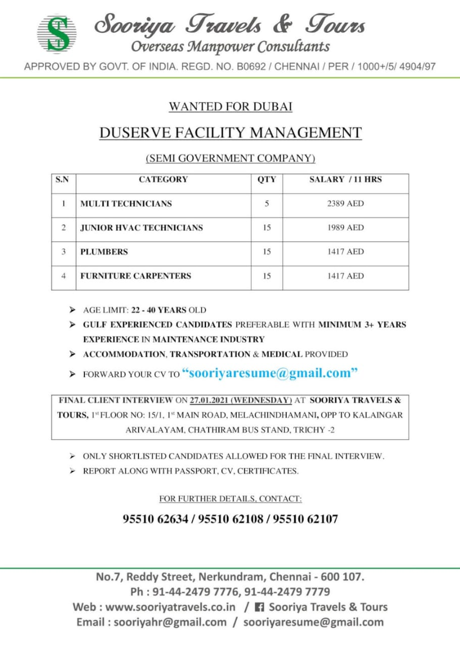 WALK-IN INTERVIEW AT TRICHY FOR DUBAI DUSERVE FACILITY MANAGEMENT SEMI GOVERNMENT COMPANY