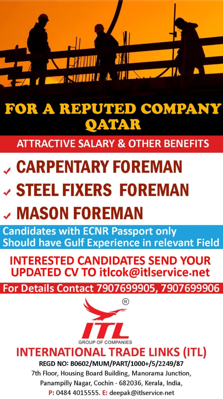 WALK-IN INTERVIEW AT COCHIN FOR QATAR REPUTED CO.