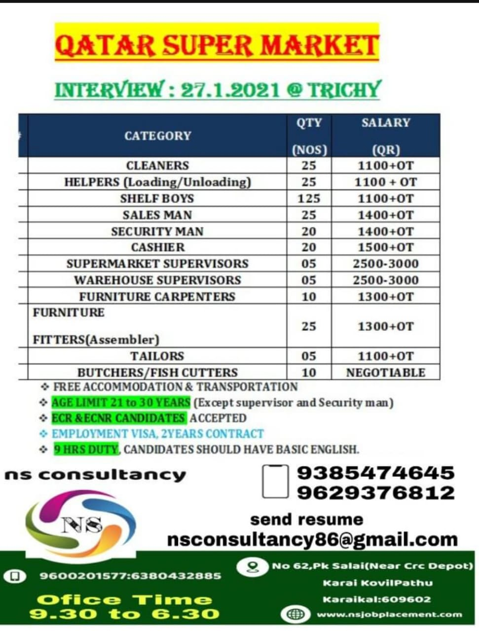 WALK-IN INTERVIEW AT TRICHY FOR QATAR SUPER MARKET