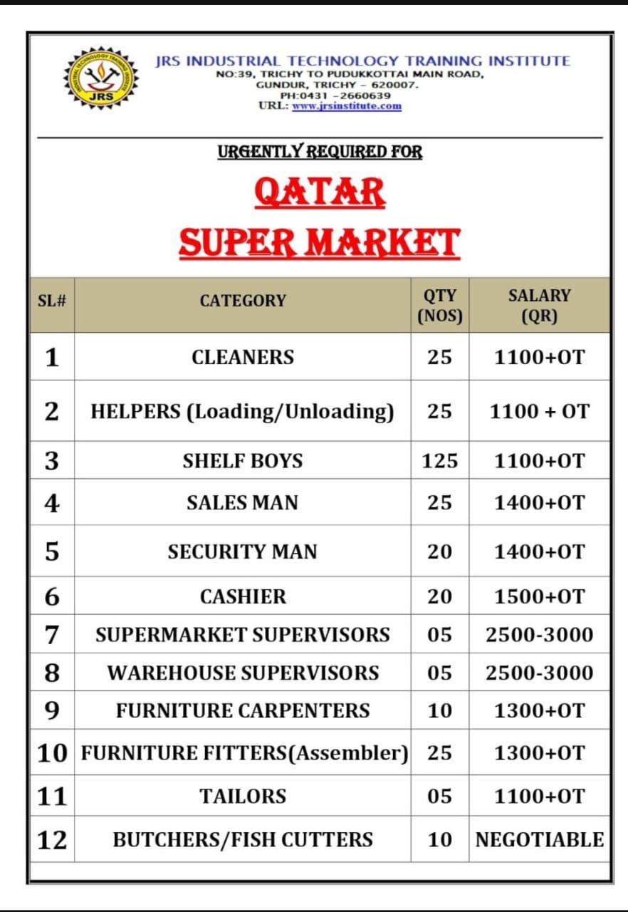 WALK-IN INTERVIEW AT TRICHY FOR QATAR SUPERMARKET