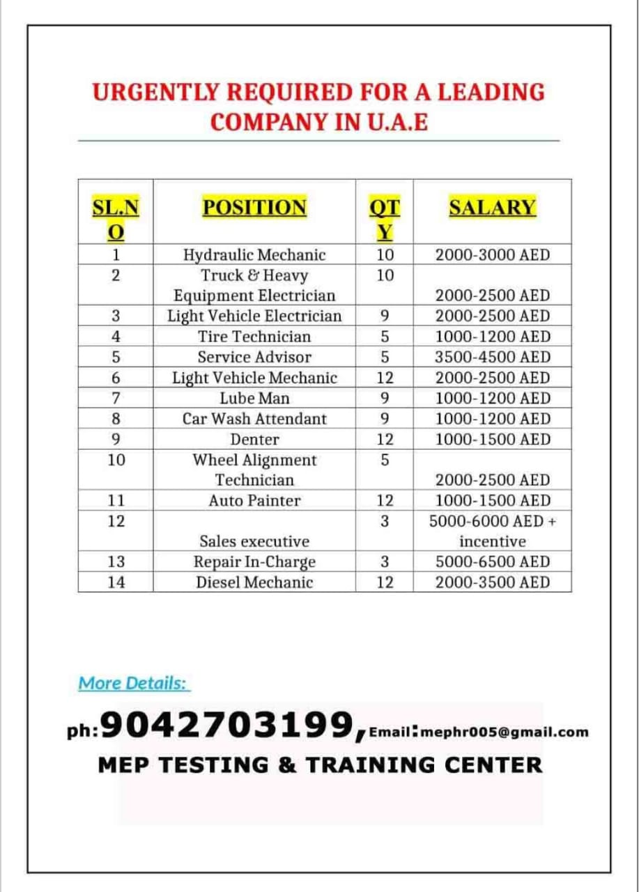 URGENTLY REQUIRED FOR A LEADING COMPANY-UAE