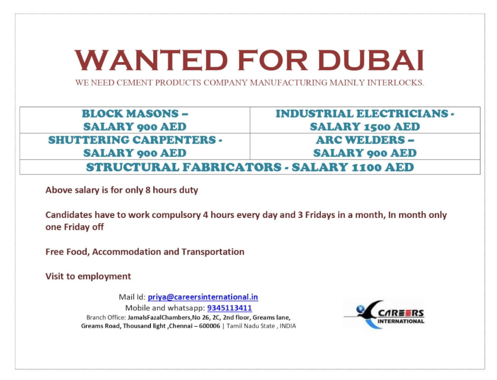 REQUIRED FOR CEMENT PRODUCTS COMPANY-DUBAI