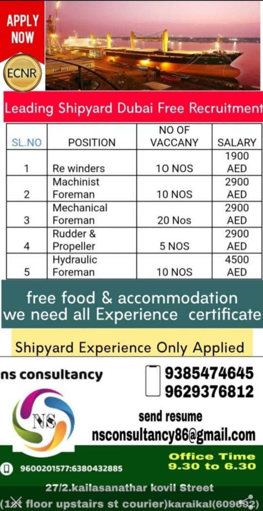Requirementfor a leading shipyard company-Dubai