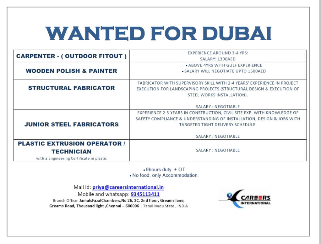 WALK-IN-INTERVIEW IN CHENNAI FOR WANTED AT DUBAI