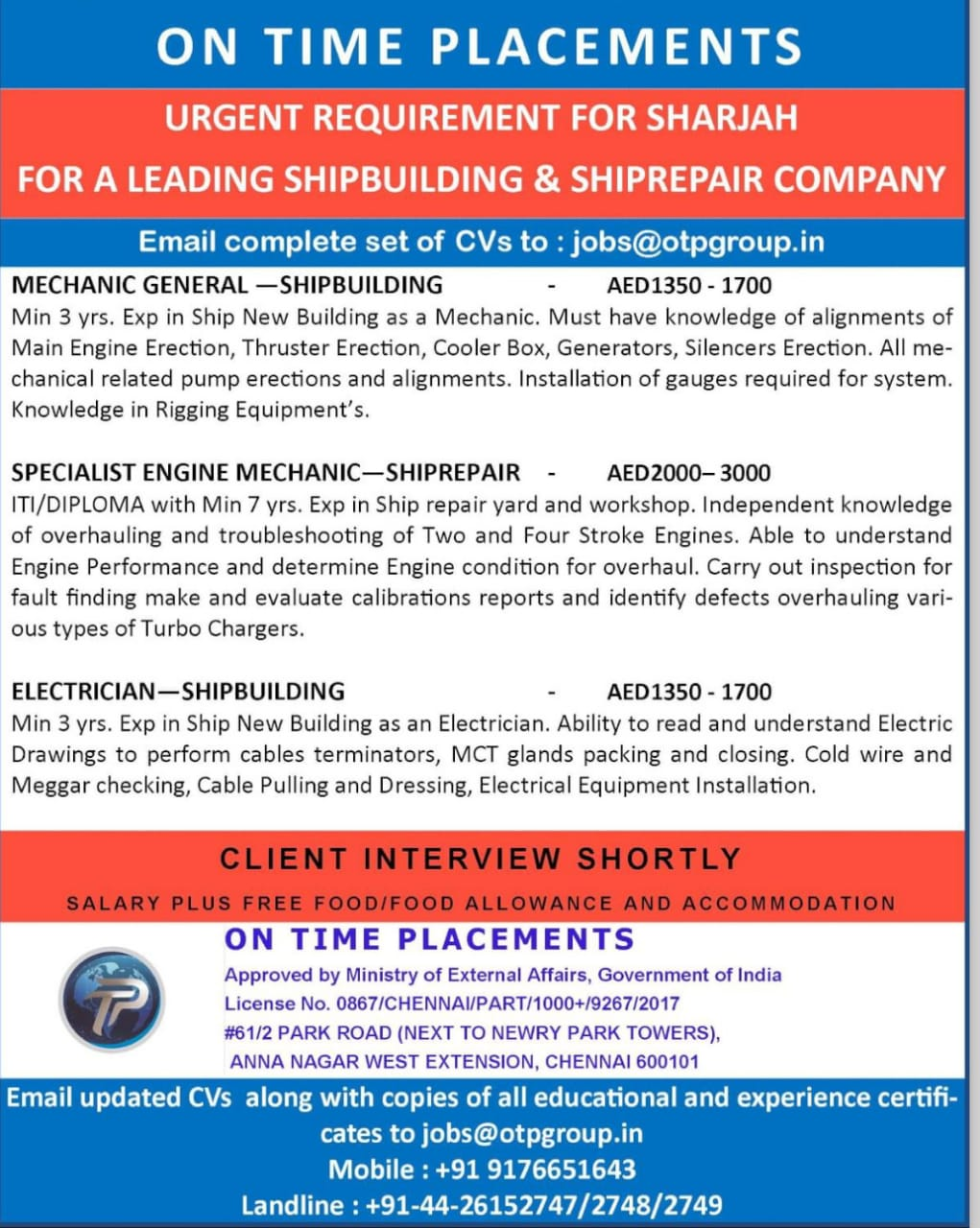 WALK-IN-INTERVIEW IN CHENNAI FOR A LEADING SHIP BULIDING & SHIPREPAIR COMPANY