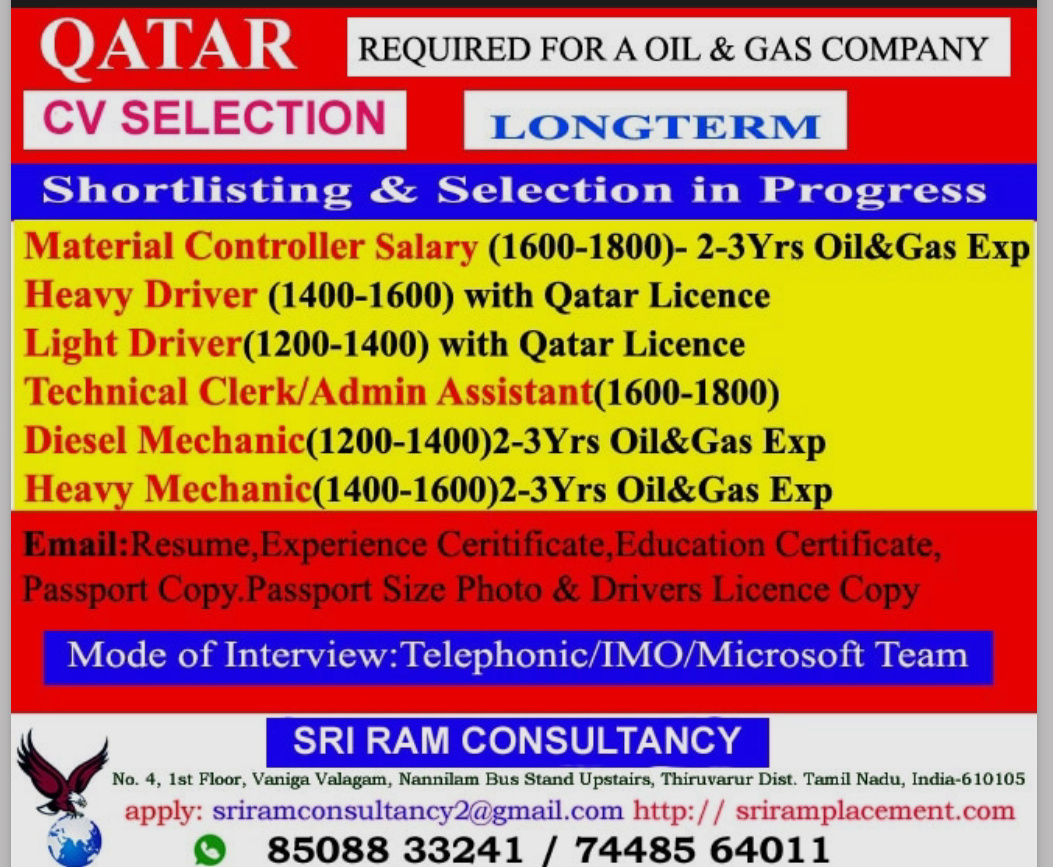 REQUIRED FOR A LEADING OIL AND GAS COMPANY-QATAR