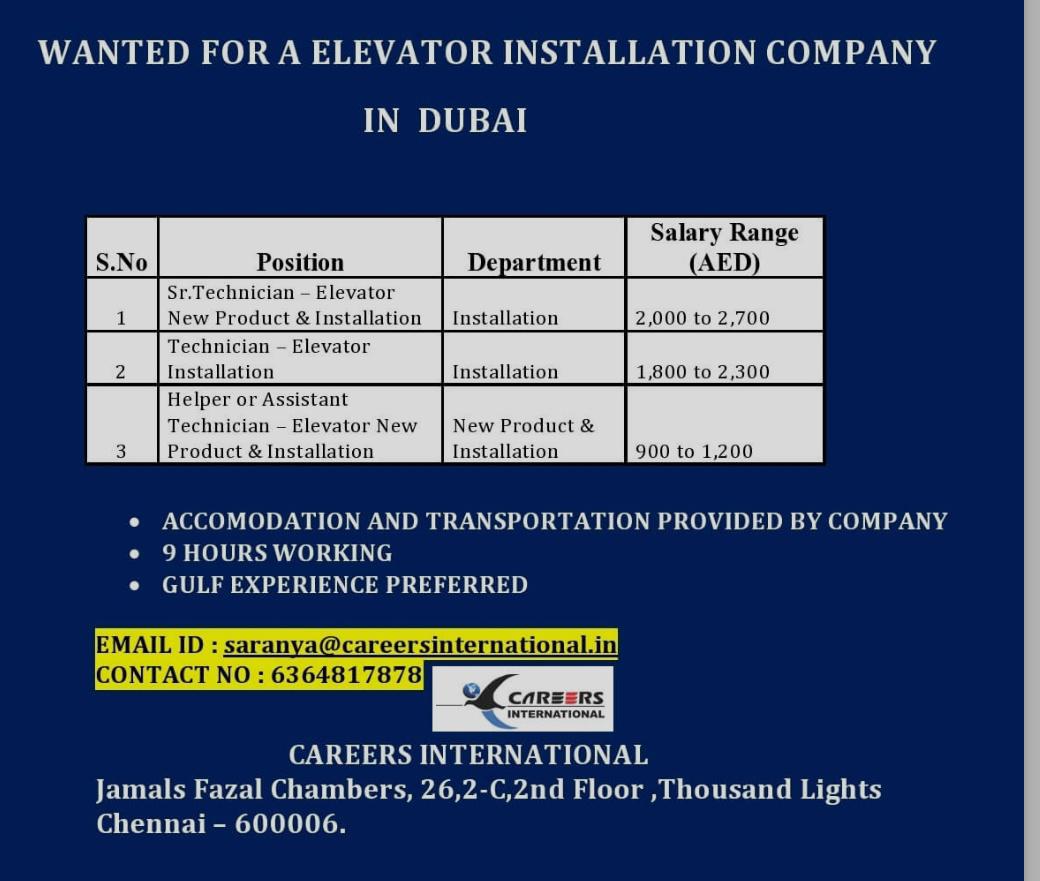 WANTED FOR A ELEVATOR INSTALLATION COMPANY-DUBAI