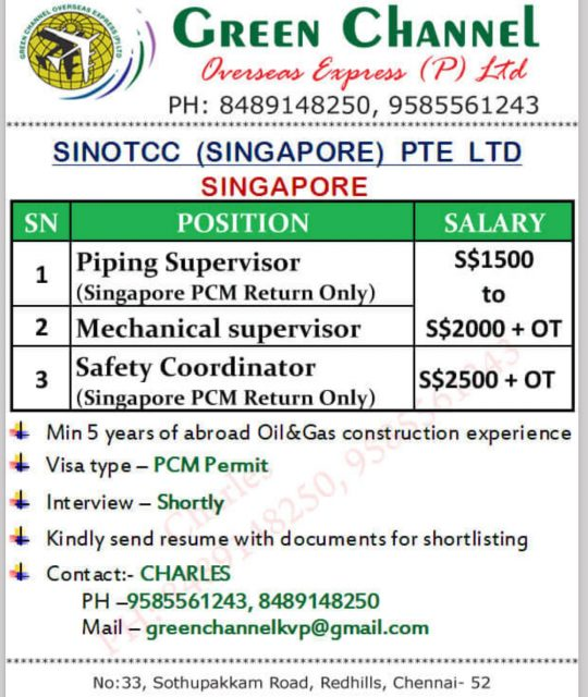 Walk in interview in Chennai for Singapore