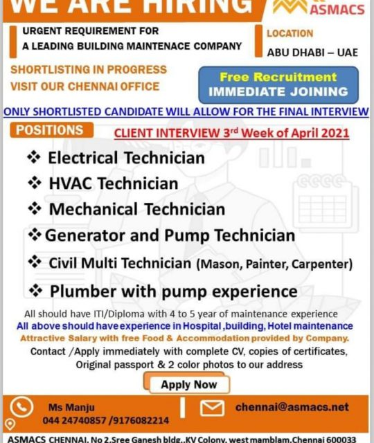WALK-IN INTERVIEW AT CHENNAI FOR BUILDING MAINTENANCE COMPANY ABUDHABI