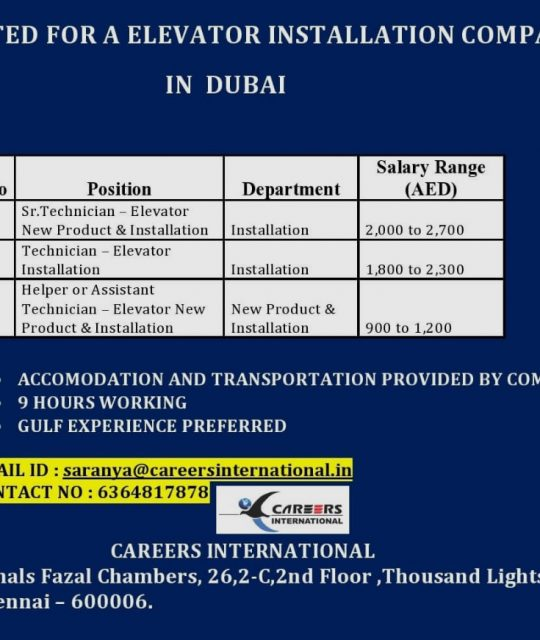 WALK-IN INTERVIEW AT CHENNAI FOR ELEVATOR INSTALLATION COMPANY DUBAI