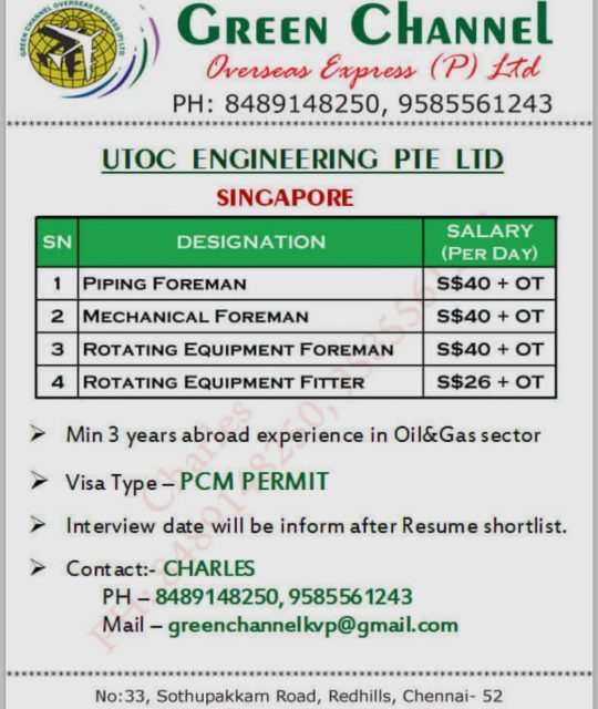 WALK-IN INTERVIEW AT CHENNAI FOR SINGAPORE UTOC ENGINEERING PTE LTD