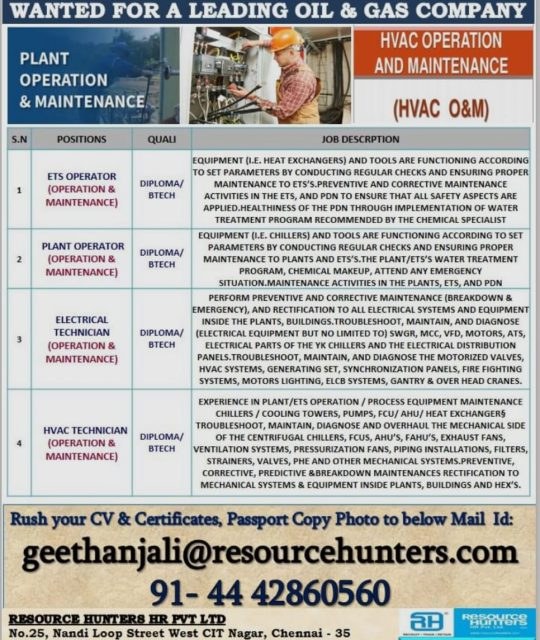 WALK-IN-INTERVIEW IN CHENNAI FOR A OIL AND GAS COMPANY AT QATAR