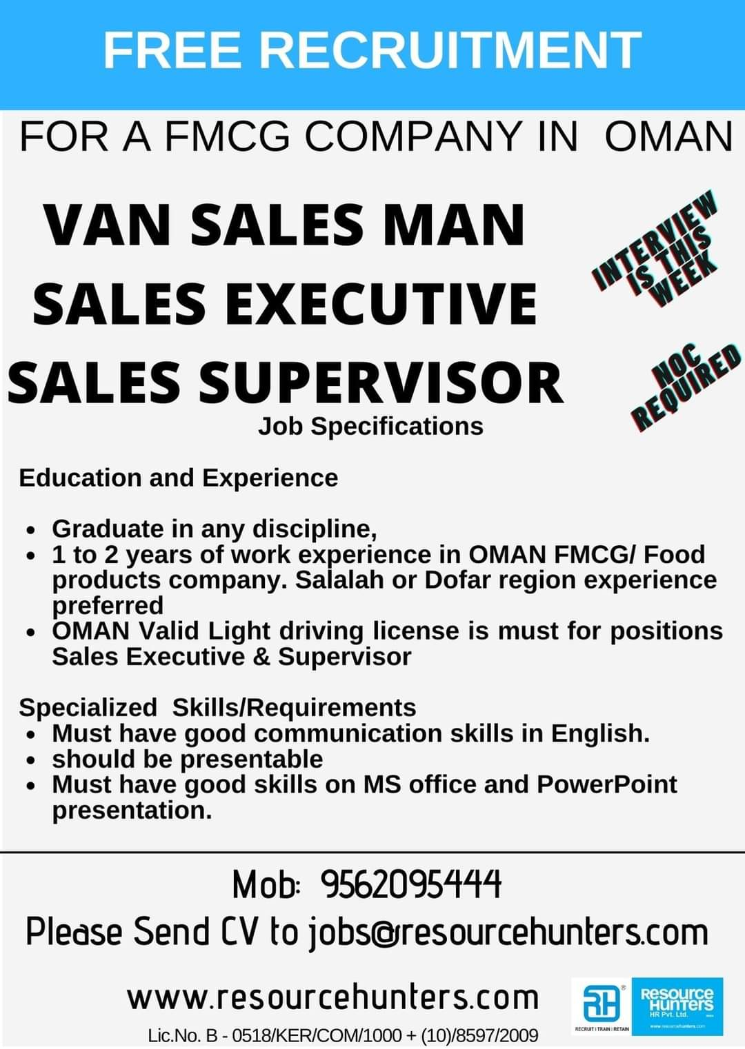 WALK-IN INTERVIEW AT COCHIN FOR OMAN FMCG COMPANY