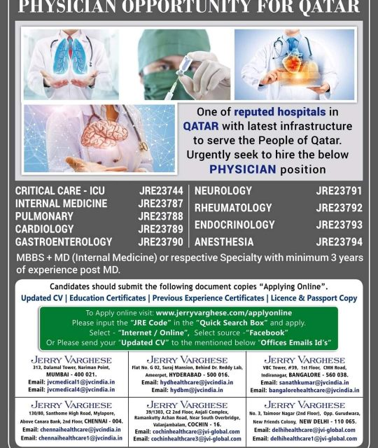 WALK-IN-INTERVIEW IN MUMBAI, HYDERABAD, BANGALORE, CHENNAI, COCHIN, NEW DELHI FOR A PHYSICIAN OPPORTUNITY AT QATAR
