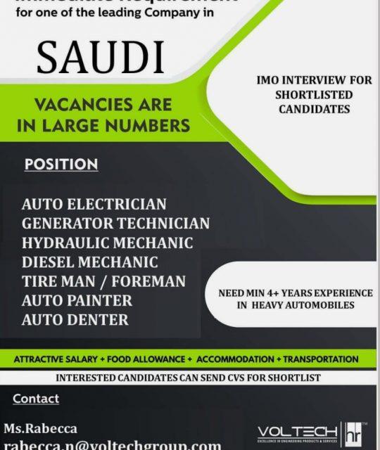 WALK-IN INTERVIEWS AT CHENNAI FOR SAUDI ARABIA