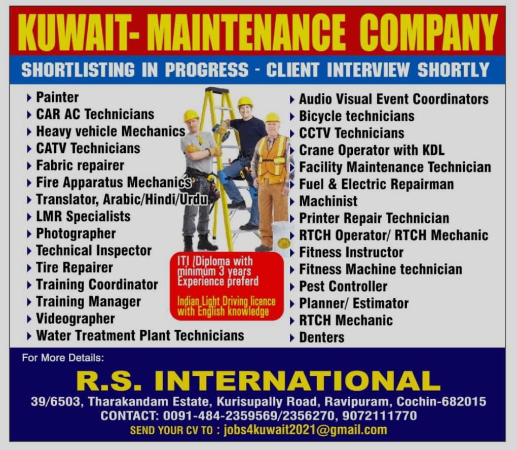 WALK IN INTERVIEWS AT COCHIN FOR KUWAIT MAINTENANCE COMPANY