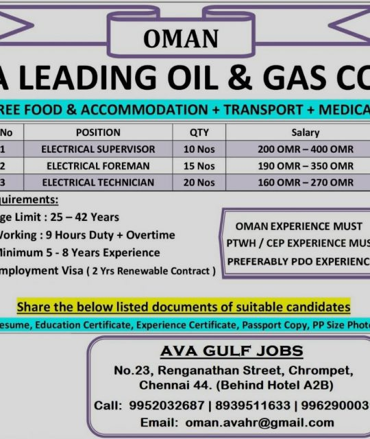 WALK-IN-INTERVIEW IN CHENNAI FOR A OIL & GAS COMPPANY AT OMAN