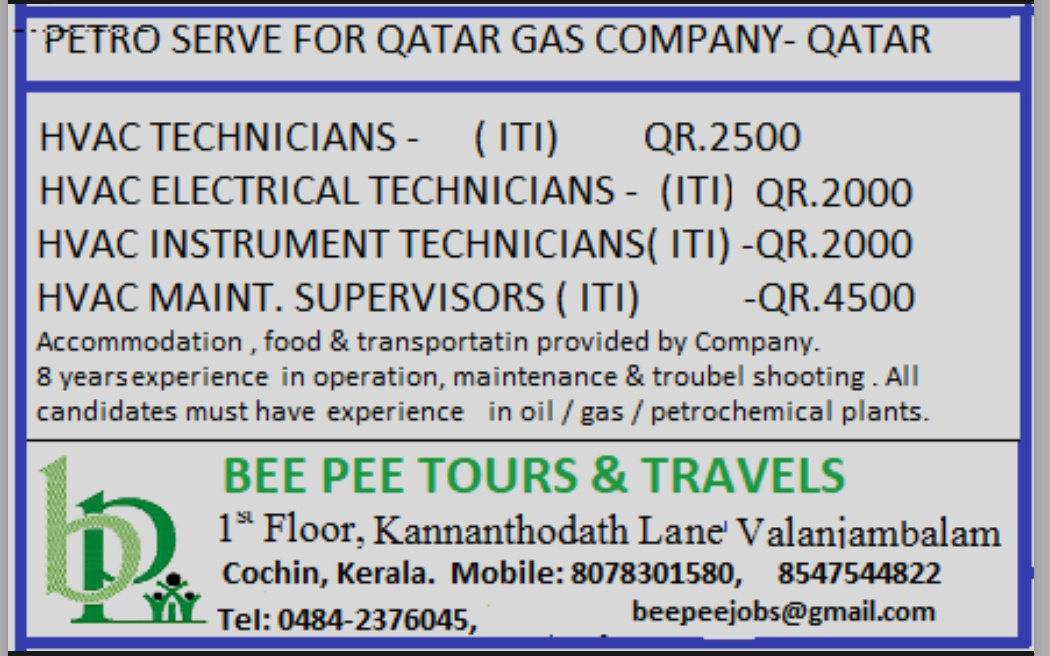 WALK-IN-INTERVIEW IN COCHIN FOR GAS COMPANY AT QATAR