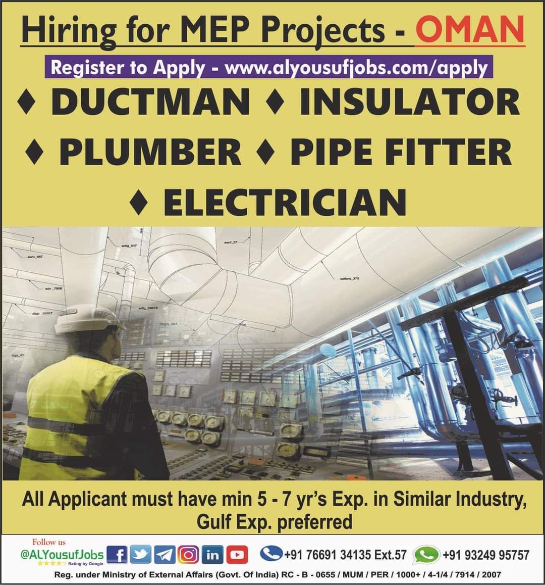 WALK-IN-INTERVIEW IN MUMBAI FOR A MEP PROJECTS AT OMAN