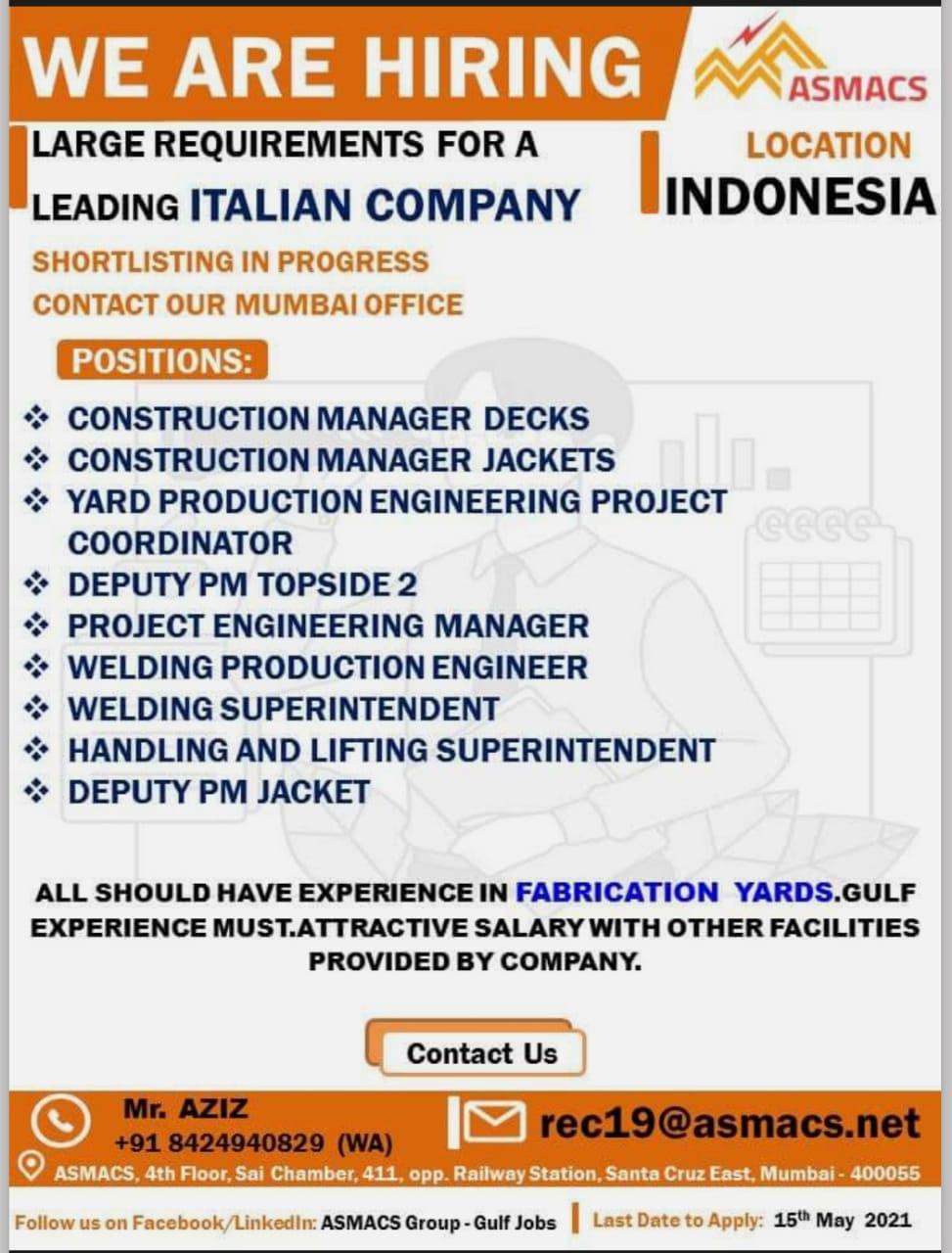 WALK IN INTERVIEWS AT MUMBAI FOR INDONESIA ITALIAN COMPANY