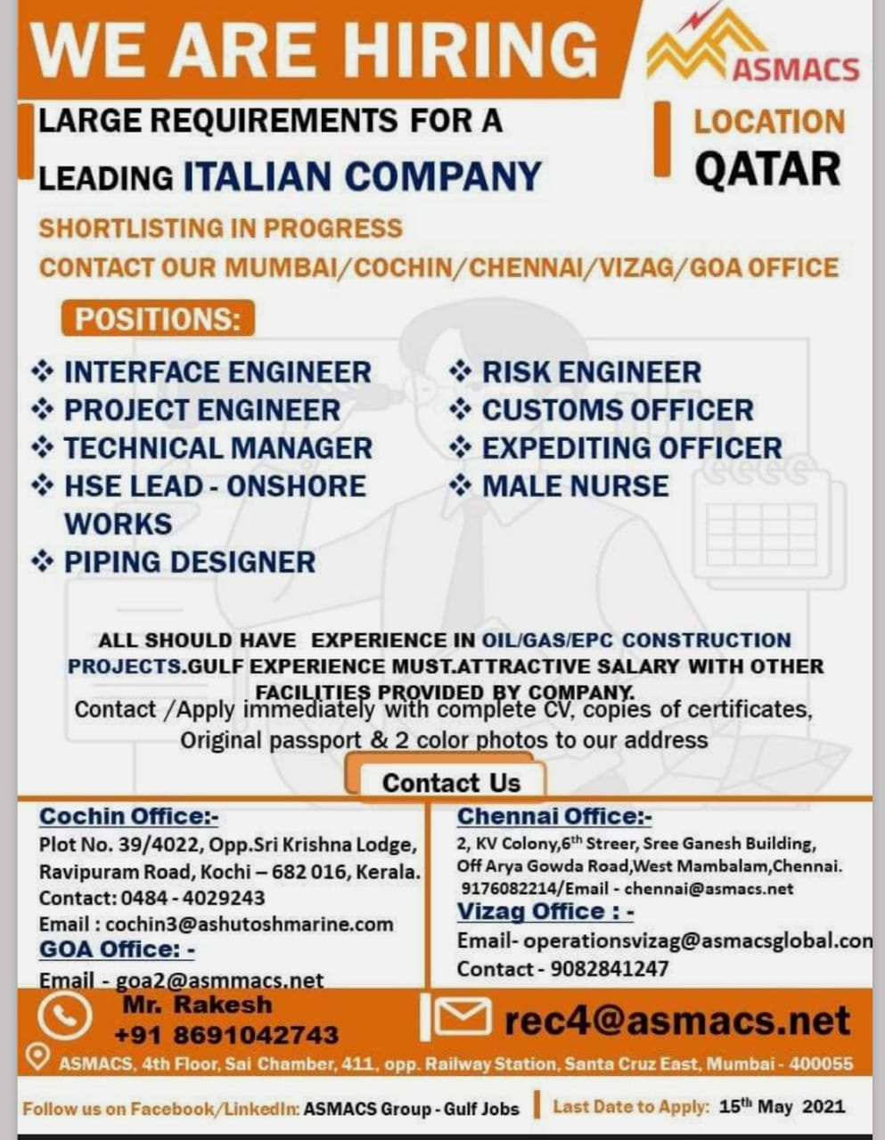 WALK IN INTERVIEWS AT MUMBAI FOR QATAR ITALIAN COMPANY